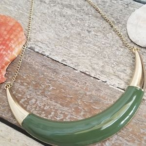 Costume jewelry Olive green Crescent necklace